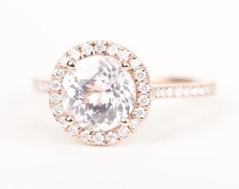 CERTIFIED - GIA Certified Round Light Peach Pink Sapphire & Diamond Halo Engagement Ring 14K Rose Gold