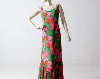 1960s mod maxi dress, vintage long print dress