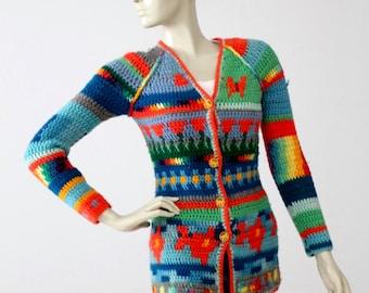 vintage 1970s crotchet hippie cardigan, rainbow butterfly sweater