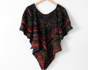 vintage 70s butterfly sleeve sweater, black metallic knit blouse