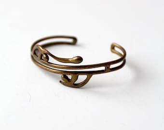 vintage brutalist cuff, brass bracelet