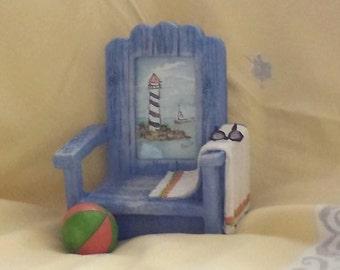 Original Miniature Watercolor Light House in Beach Chair Resin Frame