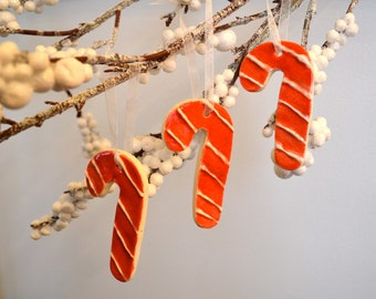 Ceramic Candy Cane Ornaments, White on Red
