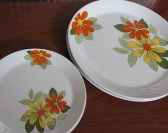 Vintage 60's Mod Snowhite Orange and Yellow Daisy Johnson Bros Plates - 6 Luncheon and Dinner Plates - Dining - Entertaining - Dinnerware
