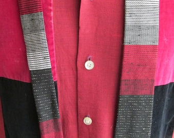 1950s Square End Skinny Tie ? Hengerer's,  Buffalo, NY / Superba Cravat / Red/ Black/ Silver