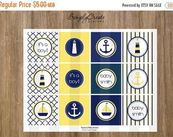 SALE Nautical Cupcake Toppers DIGITAL File 8.5  x 11 JPEG File Personalized