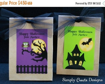 SALE Halloween Tags, Goodie Bag Tags, Printable Favor Tags 4x6 JPEG Digital File Personalized