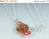 ON SALE Lampwork Pendant, Sparkling Rosy Mocha Crystal and Pearl