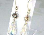 ON SALE Swarovski Crystal AB Teardrop Earrings, Bridal, Mother of the Bride, Prom, New Years Eve, Dressy