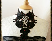 LACE COLLAR with crystals and beads BURLESQUE  Gothic Glamour