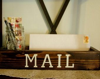 MAIL Mason jar caddy , mail holder, desk organizer, mason jar box, jar caddy, letter tray,