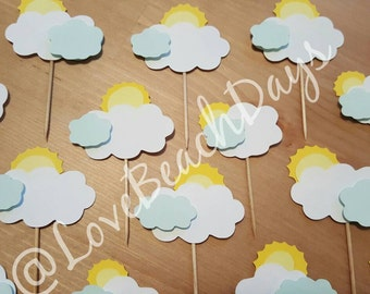 Sun & Clouds Cupcake Toppers: 15 Cupcake Toppers, Food Decorations