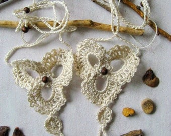 Barefoot Sandals flowers crochet beige beach style