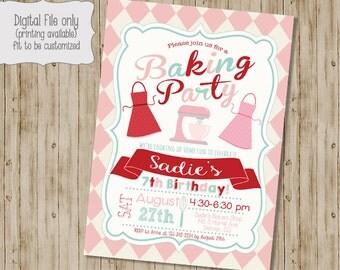 Baking Birthday Invitation, Cooking Birthday Invitation, Cupcake Birthday Party, Baking Birthday Party, Chef Birthday