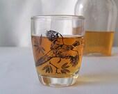 Vintage Shot Glass Ring Neck Pheasant Barware Bird Hunter's Shot Glass Mid Century Modern Mad Men 1960's
