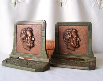Vintage Art Deco Bookends Abraham Lincoln Bookshelf Library Bookends Judd Company  Vintage 1920s