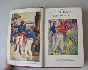 Vintage Coral Island RM Ballantyne Tales Of The Pacific Ocean Juvenile Fiction Heroes Marooned Shipwreck Pocket Classic Edition ca 1940s
