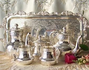 Vintage Tea Service AEtna Silver Plate Co Hartford Conn Tea Service Serving Tray Teapot Creamer Sugar Waste Early 1940s