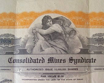Vintage Stock Certificate 1927 Consolidated Mines Syndicate 663 Shares Of Stock Memorabilia Capital Stock