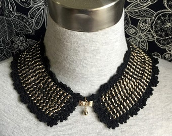 1 pcs Vintage Cotton and Gold Chain Necklace or Handmade Collar (A58)