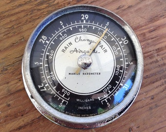 Vintage 1950s Airguide Marine Barometer  Chrome with Black and White Face
