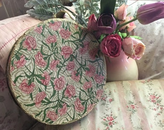 Antique Vintage Large Wallpaper Type Paper Candy Shape Box Pink Carnations