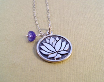 Sterling Silver Lotus & Tanzanite Necklace
