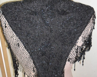 Victorian  beaded capelet/collar - black jet beads and satin