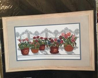 "Bucilla ""Geranium Garden"" Counted Cross Stitch Kit"