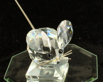 Vintage Swarovski Crystal Medium Mouse on Square Pedestal Figurine