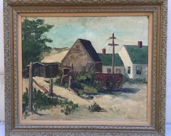 """Antique 1930's Pennsylvania Impressionistic Landscape Oil Painting Olga Matuck 29"""" x 25"""""""