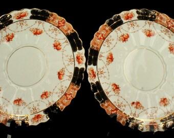 Antique Pair Rare Royal Albert Crown China Dinner Plates Unusual Pattern