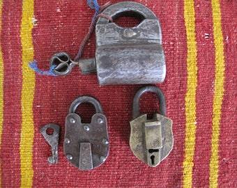 3 Vintage Padlocks, Shackle Padlock, Iron Padlock and a Brass Padlock-Lot of 3