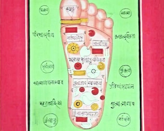 Tantric Foot Chakras-Paper Miniature Painting from Rajasthan,Mattted 14x18inches