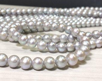 15-1/2 Inch Strand 8 mm Freshwater Pearl Round Beads - Grey Pearl - Bridal Bridesmaide Pearl - June Birthstone (MJ8920W40-BH)