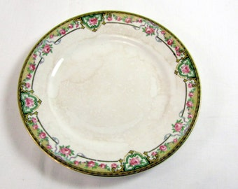 1920s Bread Plate Homer Laughlin Georgian Eggshell Pink Roses and Gold Trim