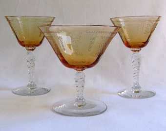 Vintage Embossed Amber Cocktail Stemware Glasses Martini and Coupe