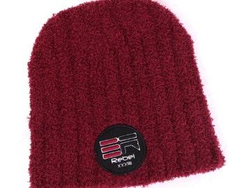 Rebel Behavior streetwear #Rebel33 Fleece Beanie in Red