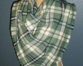 Plaid Blanket Scarf, Oversized Plaid Scarf, Wrap Scarf, Flannel Woven Cotton Scarf, Fashion Scarf, Womens Tartan Scarf - Green Plaid