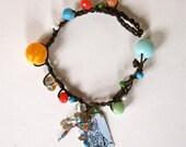 Nathalie Lete Painting Bracelets - Leather Crochet Bracelet - Assemblage Pendant Finding - Boho Chic