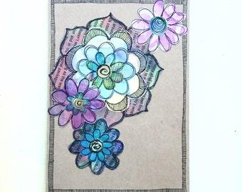 Paper Flower Garden series 1 - 5x7 (PFGL-0011) - Handmade Blank Card
