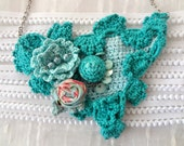 Fabric and crochet necklace, bib necklace,statement necklace, bohemian, crochet rose necklace, pearls, vintage fabric,