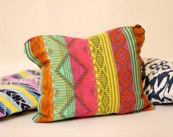 Multi colored  clutch - Canvas clutch bag - Slim clutch bag
