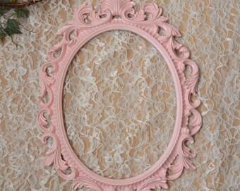 Pink Oval Picture Frame Large Ornate Baroque Fancy Portrait Wedding Nursery Bridal shower Girls bedroom decor