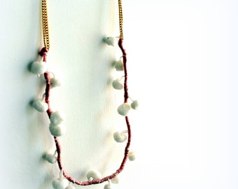 pompon chain necklace- pink gold necklace- long and light necklace