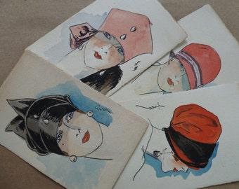 4 Flapper Women French Postcards. Original Illustration Art, Signed. Vintage Antique 1920s. Ladies in Hats. Art Deco, Fashion Pictures Set.