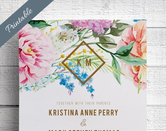 Spring Wedding Invitations Printable Garden Wedding Invitations Floral Wedding Invitations