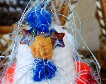 Crochet Chicken -ALBERTA - Red White and Blue Stuffed Chicken Amigurumi- Funky Chicken- Chicken with Glasses- Chicken Decor-Chicken Plush