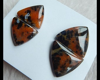 2 Pair Petrified Wood Opal Gemstone Cabochons,10.35g