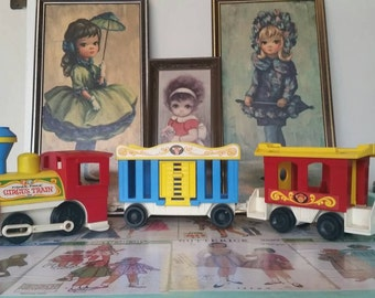 Vintage Fisher Price Circus Train, engine, carriage and caboose three piece lot